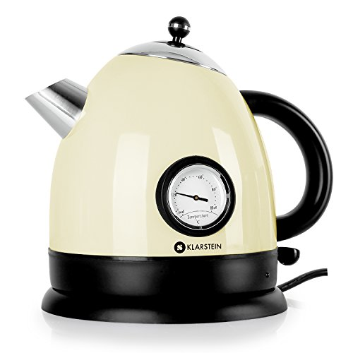 Klarstein Elektrischer Wasserkocher mit klassischem Design und analogem Thermometer 1.7 litres cremefarben