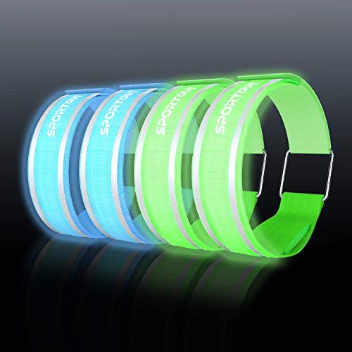Sportout 4er Pack LED Armband, LED Reflektierendes Armband, Anzug für Frauen Männer und Kinder, Sicherheitslicht zum Laufen,Joggen, Radfahren, Hundewandern und andere Outdoor Sport