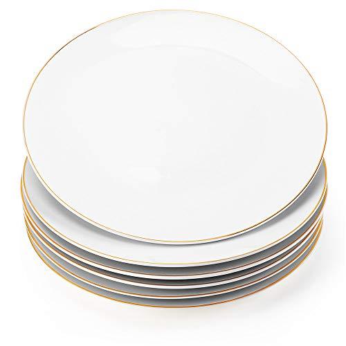"Gsain 10.5"" Porcelain Dinner Plates with Golden Rim, Stackable Ceramic White Round Serving Plate for Salad, Dessert, Steak, Pasta (Set of 6)"