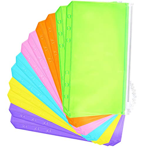 12 Pieces Binder PVC Pocket Notebook Binder Loose Leaf Bags Colorful Holes Binder Zipper Folders Waterproof PVC Pouch Document Filing Bags (Pink, Blue, Orange, Green, Yellow, Purple, A6)
