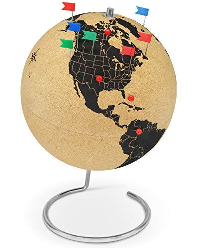 Gran globo terráqueo de corcho de 33 cm de alto con 54 chinchetas diferentes - Globo terráqueo giratorio hecho de corcho - Globo terráqueo como idea de regalo para los amantes de los viajes