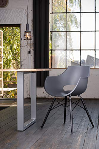 KAWOLA Essgruppe 5-Teilig mit Esstisch Baumkante Fuß Silber 140x85cm und 4X Stuhl ZAJA Kunststoff anthrazit