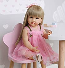 Reborn Baby Dolls Full Body Silicone Vinyl Girl 22 inch 55 cm Realistic Lifelike Toddlers Newborn Baby Doll Waterproof with Blond Long Hair Pink Dress for Girls Birthday Xmas Gifts