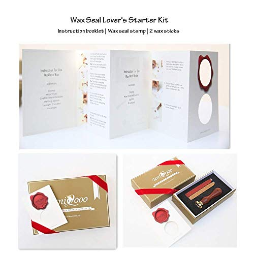 UNIQOOO Wax Seal Stamp Kit- Cute Little Bee Pattern, Wine Red & Gold Wax Sticks with Wicks - Perfect Gift Ideas for Friends, Relatives, Artistic Types, Bee Lovers