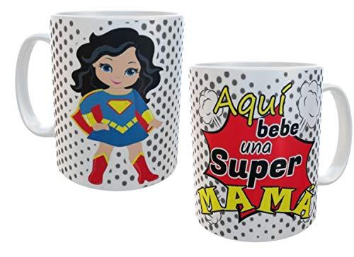 SAQUITOMAGICO Taza Aquí Bebe una Super mamá!!!! Superwoman