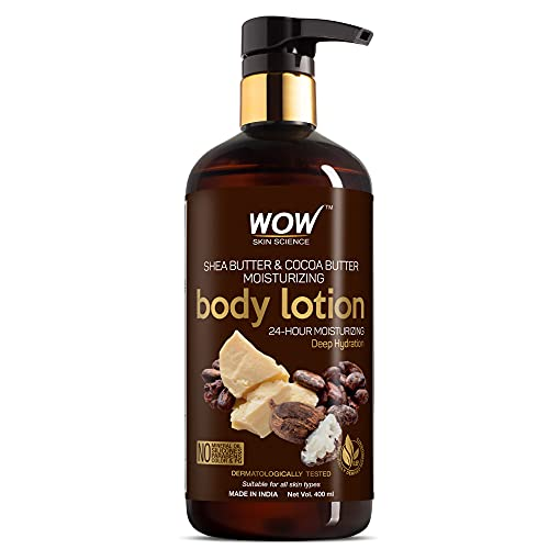 WOW Shea Butter and Cocoa Butter Moisturizing Body Lotion, Deep Hydration, 400ml