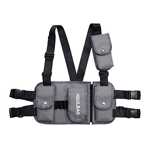 Leezo Hombres Mujeres Moda Pecho Rig Rig Rig Rig Cintura Bag Streetwear Funcional Tactical Hip Hop Bolsa de Hombro Multipropósito Deporte Mochila Crossbody Bolsas