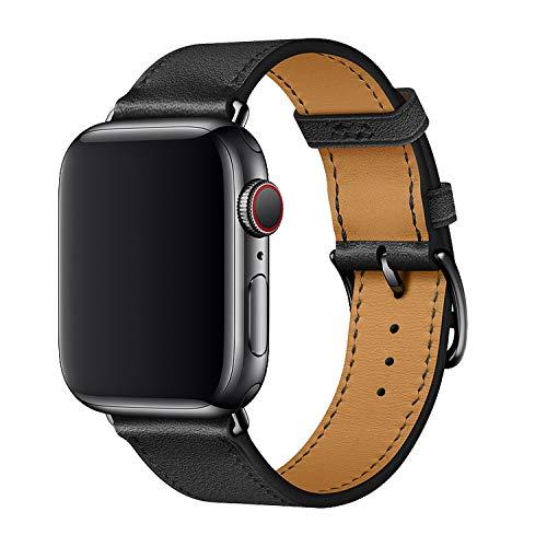 XCool Compatible avec Bracelet Apple Watch 42mm 44mm, Cuir Noir Bande de Remplacement pour iwatch Se Series 6 Series 5 Series 4 Series 3
