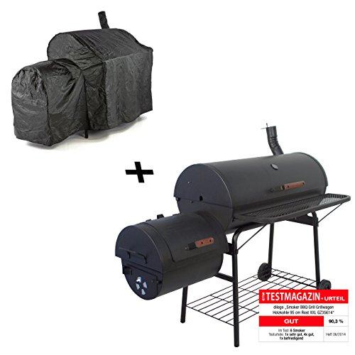 Nexos Smoker BBQ Grill Grillwagen Holzkohlegrill 95cm Rost, 160 x 124 x 70 cm XXL 57kg mit Schutzhülle 120g/PVC