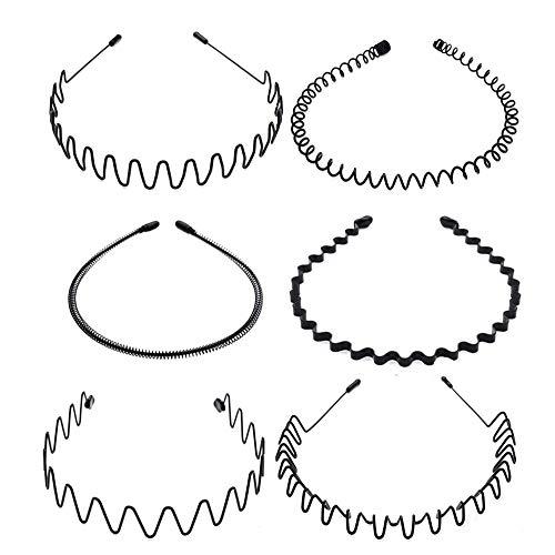 Lot de 6 serre-têtes flexibles en métal et plastique pour femme et homme