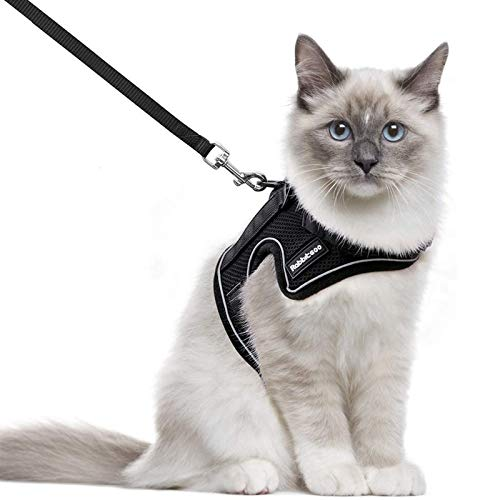 rabbitgoo Cat Harness and Leash for Walking, Escape-Proof No Choke Reflective Vest Harnesses for Small Cats, Kitten Harness with Magic Tapes and Double Clips for Kitty Safety Outdoor Activity, M