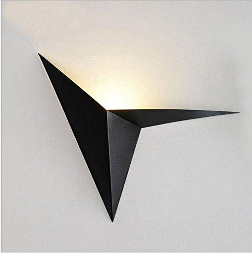 JJZHG Wandlamp Indoor Wandlamp Zwarte driehoek muur lamp slaapkamer nachtkastje studie hotel spiegel voorzijde licht warm licht, 220mm omvat: wandlampen, wandlamp met leeslamp, wandlamp met stekker