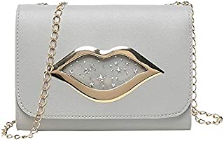 TOOGOO Red Lip Sequins One Shoulder Small Square Bag Chain Messenger Bag Summer Sweet Lady New Female Bag Pink