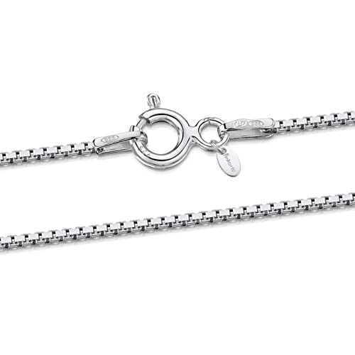 925 Sterling Silver 1.0 mm Venice Box Chain Necklace Size: 14 16 18 20 22 24 inch / 36 40 45 50 55 60 cm (24inch/60cm)