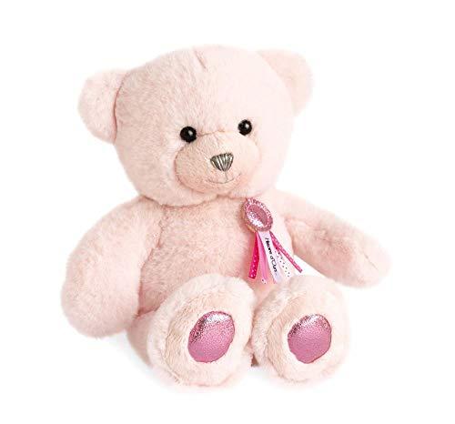 Hoogwaardige pluche beer ca. 24 cm met harthanger op leren band extreem zacht pluche om te knuffelen (roze)