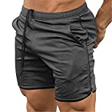 COOFANDY Men's Fitted Workout Shorts Bodybuilding Sporting Running Training Jogger Gym Short Pants with Pockets Grey