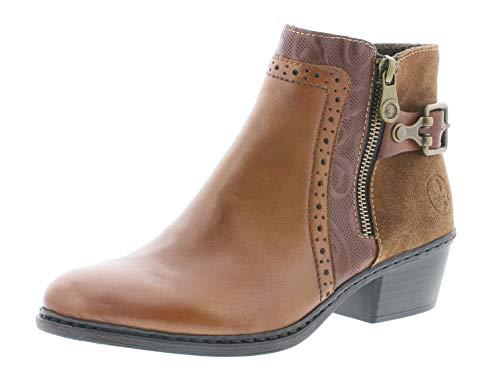 Rieker Damen Stiefeletten 75585, Frauen Stiefelette, elegant Women's Women Woman Freizeit leger Stiefel Boot,Muskat,38 EU / 5 UK