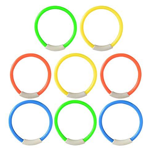ABOOFAN 8 anillos de buceo subacuáticos para natación, juguete de buceo, accesorio de entrenamiento para niños y niñas (color al azar)