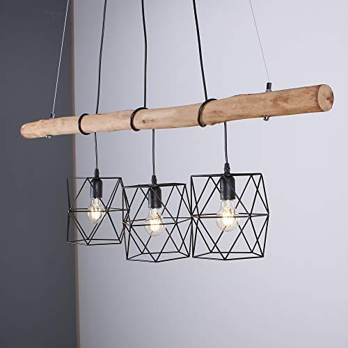 LHG Pendelleuchte 3-flammig höhenverstellbar | Holz Hängelampe aus Echtholz | Leuchte inkl. 3x LED Leuchtmittel warmweiß | Pendellampe Holzbalken-Lampe Vintage-Look