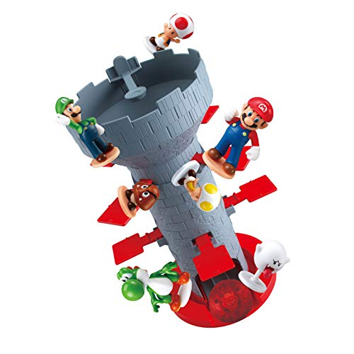 Epoch Games Super Mario Blow Up! Shaky Tower Balancing Game, Tabletop Skill and Action Game with Collectible Super Mario Action Figures