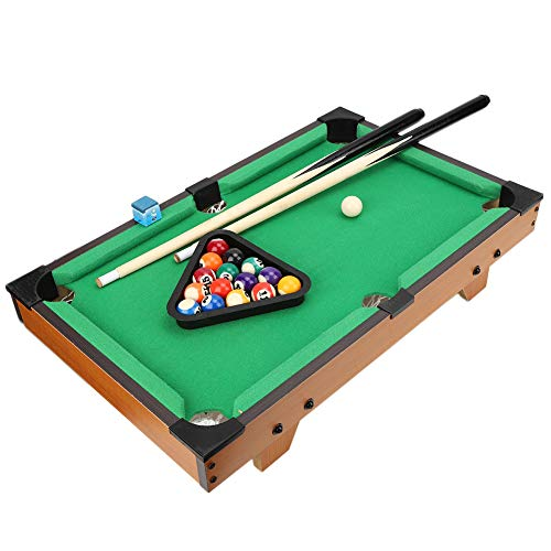 Mini mesa de billar, juego de mesa de billar de madera de lujo con 15 bolas de colores, 1 bola de señal, 2 palos Juego de mesa de billar pequeño completo, gran idea de regalo para niños y niñas(1#)