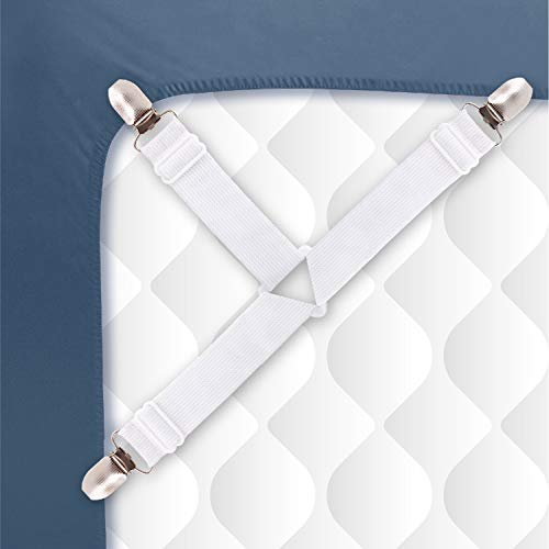 Sheet Straps with Heavy Duty Suspenders, Clips, and Adjustable Bed Bands to Keep Sheets from Sliding Available in Twin, Full, Queen, and King Sizes