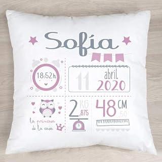 Verimpressió Cojín personalizado para recién nacido con datos de nacimiento 40x40cm.  Relleno incluido   Fabricado en España (Rosa)