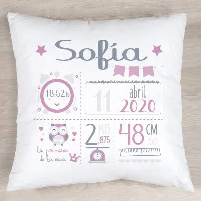 Verimpressió Cojín personalizado para recién nacido con datos de nacimiento 40x40cm.| Relleno incluido | Fabricado en España (Rosa)