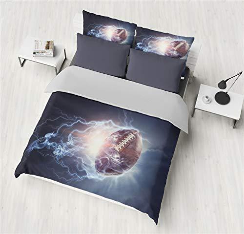 Bettwäsche-Set 3D Fußball Basketball Baseball Rugby Bettbezug Blau Rot Wasser Vulkan Blitz Kinder Junge Mädchen Mikrofaser Bettbezug Mit Reißverschluss (Farbe 3, 135x200 cm + 80x80 * 1)