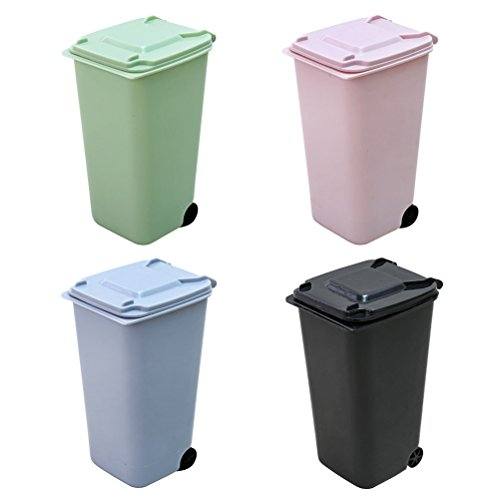 TOYMYTOY 4Pack Mini Wastebasket Set,Desk Trash Can with Lid Desktop Garbage Organizer Storage Bin Pen Pencil Cup Holder Office Supplies