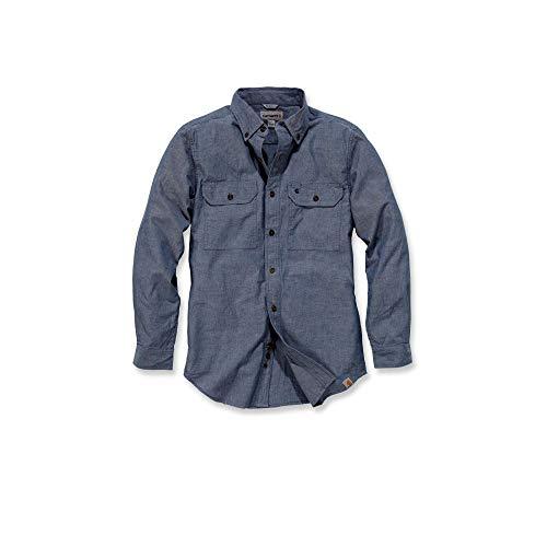 Carhartt S202 L/S Fort Solid Shirt - Arbeitshemd - Freizeithemd (L, Blau)