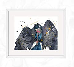 Howl and Sophie Prints, Howl's Moving Castle. Watercolor, Nursery Wall Poster, Holiday Gift, Kids and Children Artworks, Digital Illustration Art
