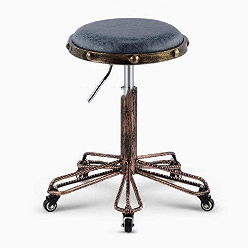 LLDKA Taburete de Taller de Ruleta de Ruedas, Taburete de Taller de Ruleta con sillas de Asiento de Cuero de PU marrón,Azul