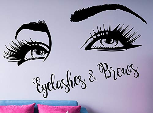 Tianpengyuanshuai Wimpern Wandtattoo Wimpern Vinyl Wandaufkleber Beauty Salon Dekoration Wandfenster 96X63cm