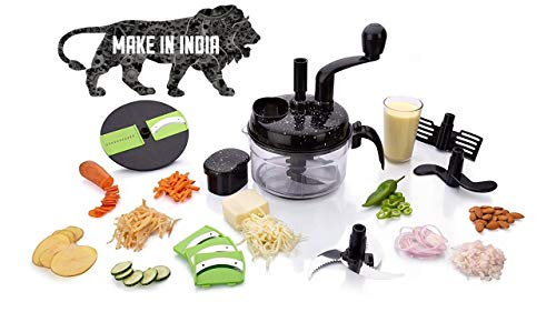 KanakMall 10 in 1 Plastic Manual Turbo Dual Speed Food Processor/Dough/Atta Maker/Vegetable Cutter/Slicer/Grater, Black