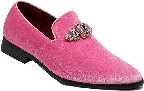 Enzo Romeo SPK32 Herren Vintage Plain Strass Samt Kleid Loafer Slipper Schuhe Classic Smoking Kleid Schuhe, Pink (Rose), 46 EU