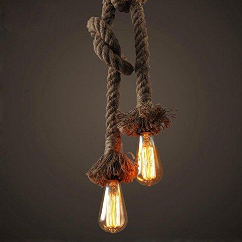KJLARS Vintage Retro altezza lampada a sospensione di corda di canapa regolabile lampada a sospensione in stile rustico lampadine corda industriale lampada a sospensione Hanging E27