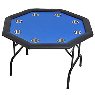 Soozier 3.9ft 8 Player Octagon Poker Table with Cup Holders Folding Top - Blue