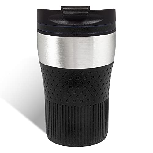 Thermobecher to go Kaffeebecher unterwegs 230 ml doppelwandig Farbe schwarz, silber