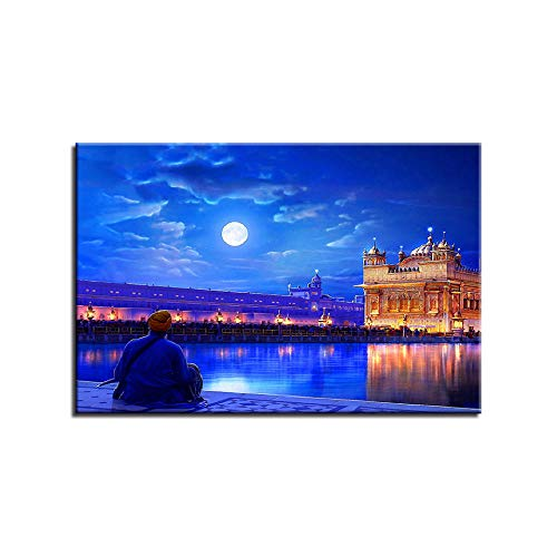 1 Pieces Night Landscape Pictures for Living Room India Golden Temple HD Canvas Painting Home Decor Wall Art Posters 30cmx45cm No Frame
