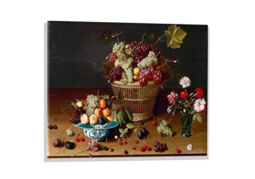 Kunst für Alle Image sur Verre: Jan Soreau Trauben Pfirsiche und Pflaumen in einem Korb, Image de Haute qualité, Impression d'art Brillante sur Verre Pur, 70x50 cm