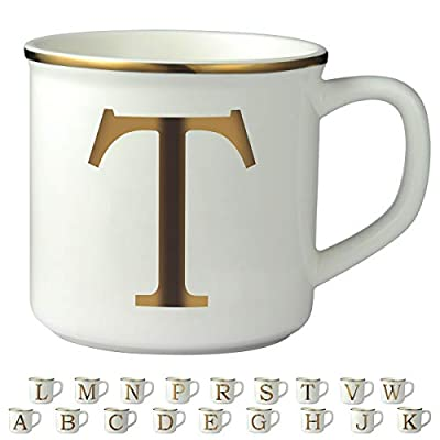 Miicol Gold Initial 16 OZ Large Ceramic Coffee Mug Tea Cup for Office and Home Use, Perfect Monogram Gifting or Collecting, White, Letter T
