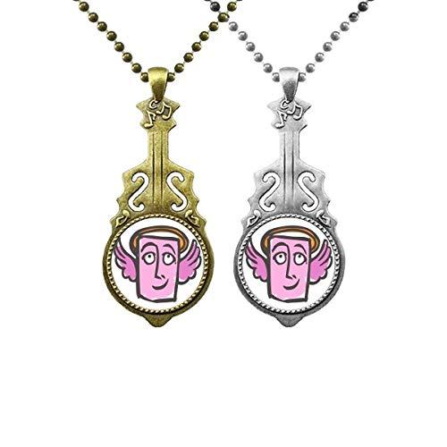 Engel-Anhänger mit abstraktem Gesicht, Musik, Gitarre, Schmuck, Halskette