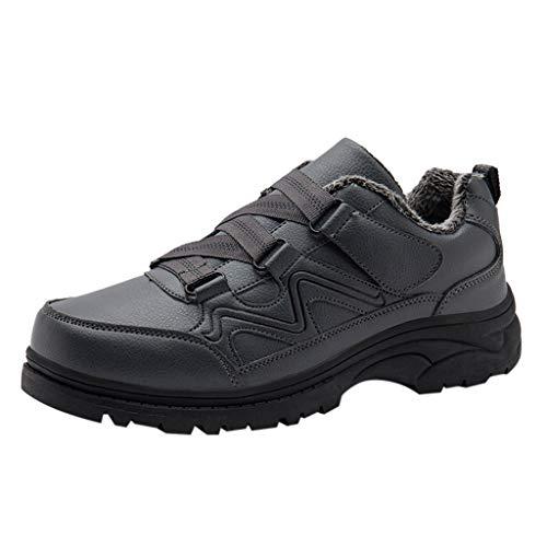 HDUFGJ Winter Herren Schneeschuhe Plus Samt Warm halten rutschfeste Wasserdicht Outdoor-Schuhe für Sport Hiking Trekking-& Wanderhalbschuhe Verschleißfest Freizeitschuhe Laufschuhe39 EU(Grau)