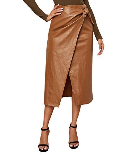 SweatyRocks Women's Elegant High Waist Tie Knot Wrap PU Leather Midi Skirt Brown L