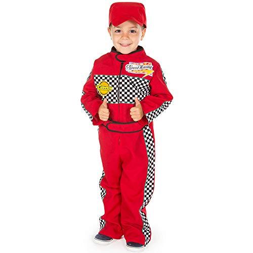 Pretend to Bee F1 - Disfraz de piloto de carreras para niños de 3 a 5 años, de alta calidad, traje y gorra roja, disfraz de 2 piezas para niños y niños pequeños, unisex, juego de rol para niños