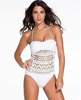 BEESCLOVER Crochet Bathing Suit Women One Piece Swimsuit Hollow out Beach Swim Suit Halter Female Monokini Swimwear XXL N87761 S