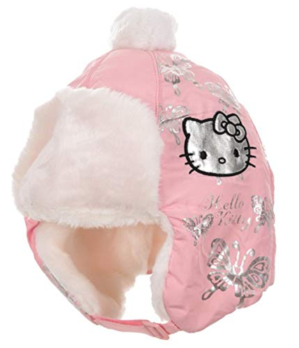 Bonnet Chapka enfant fille Hello kitty Rose et Blanc de 3 à 9ans (54 (6-9 ans), Rose)