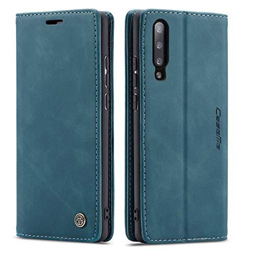 mvced Handyhülle Kompatibel mit Samsung Galaxy A30S/A50S/A50,Premium Leder Flip Hülle Schutzhülle mit Standfunktion,Blau