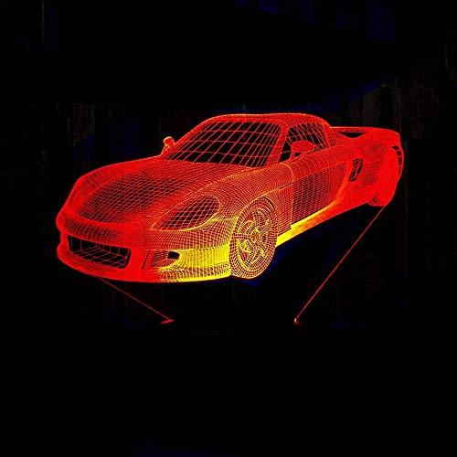 7 colores Retro mecedora coche 3D luz de noche placa de acrílico que cambia la lámpara de mesa de...